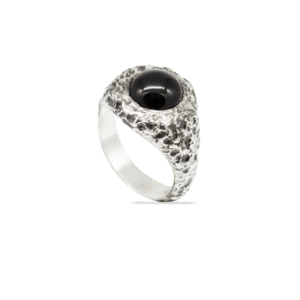 silver rings with gemstones onyx