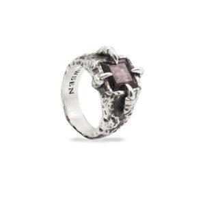 silver rings with gemstones red garnet