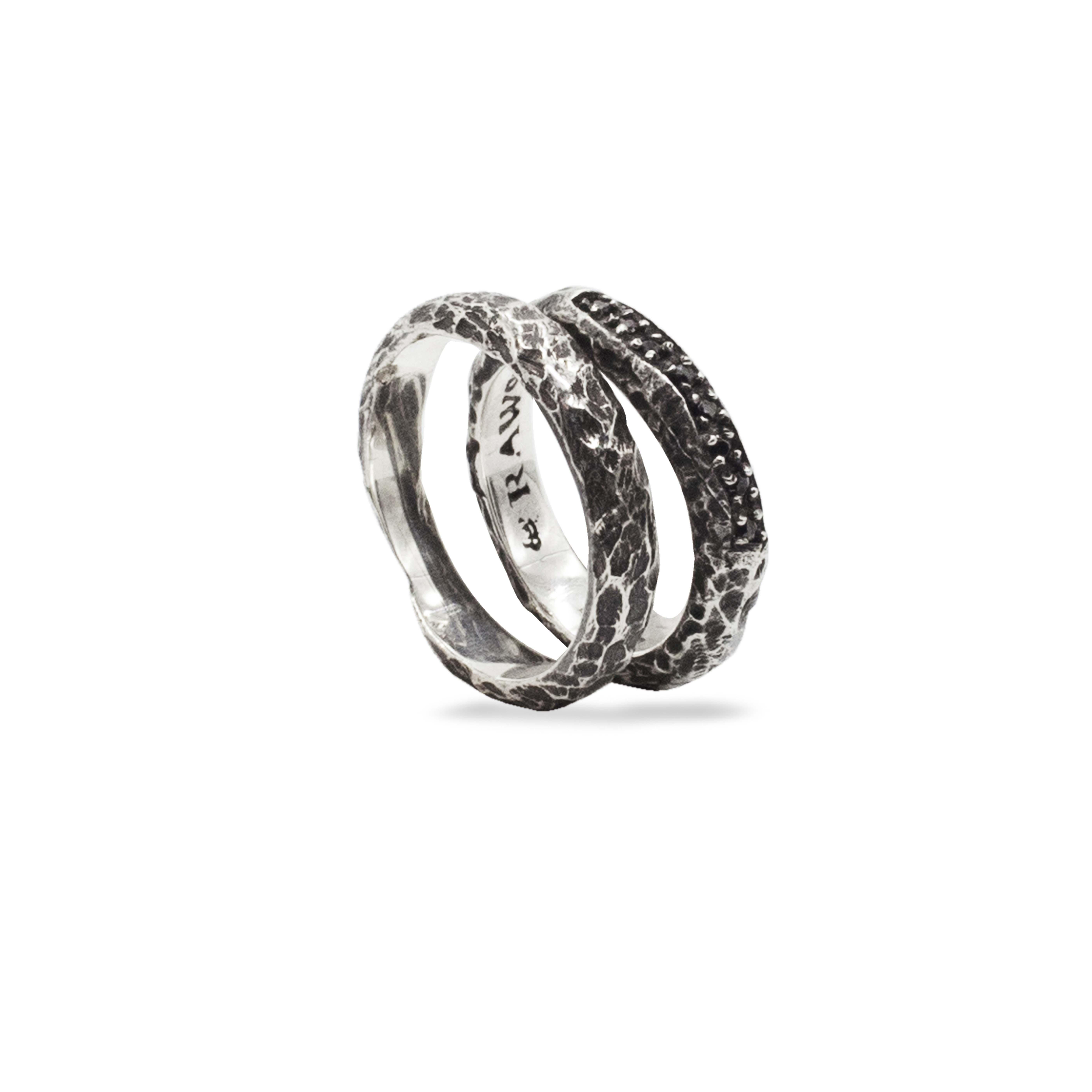 coppia di anelli in argento 925 con zirconi neri Rawsen
