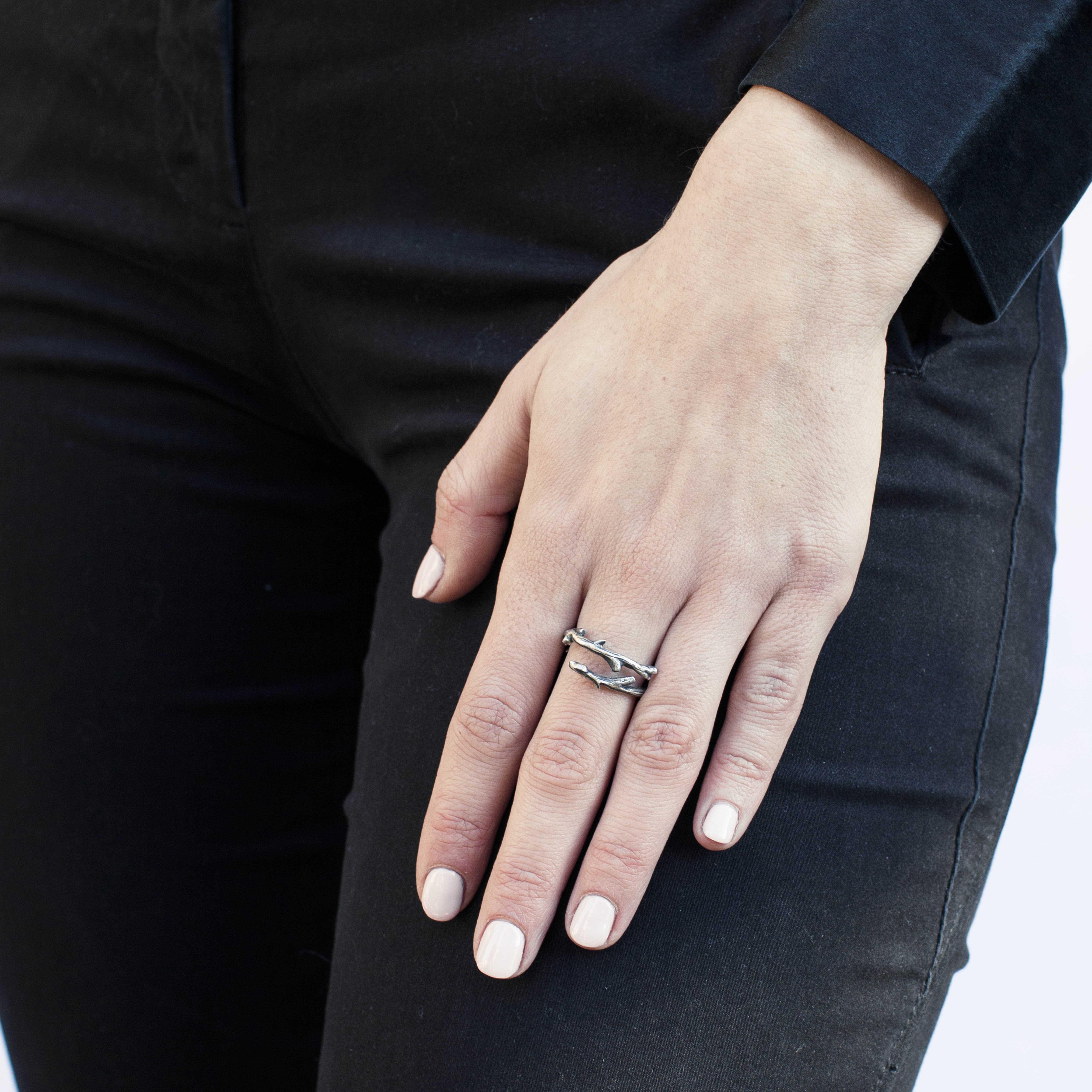 anello rametto in argento rawsen
