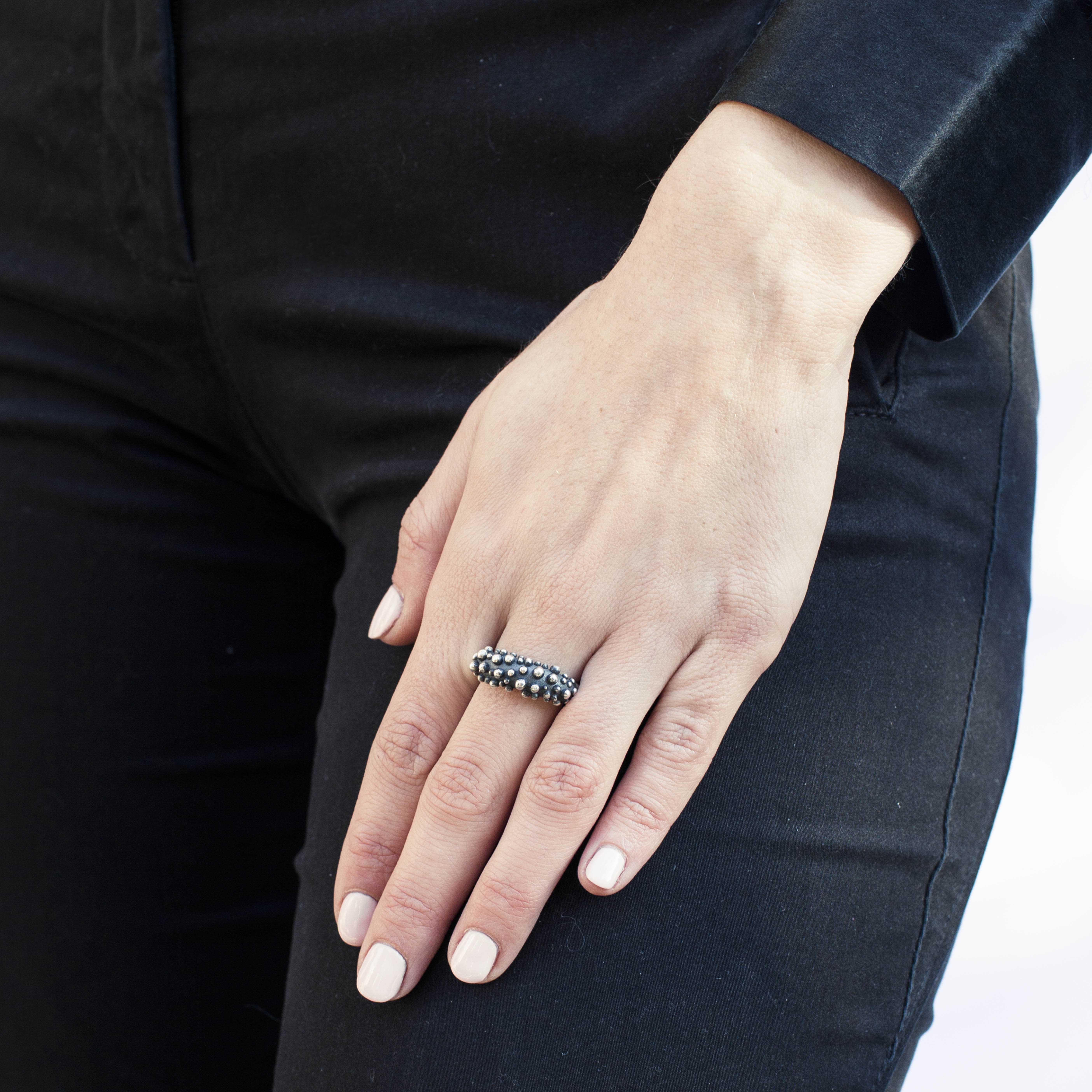 anello bolle in argento rawsen