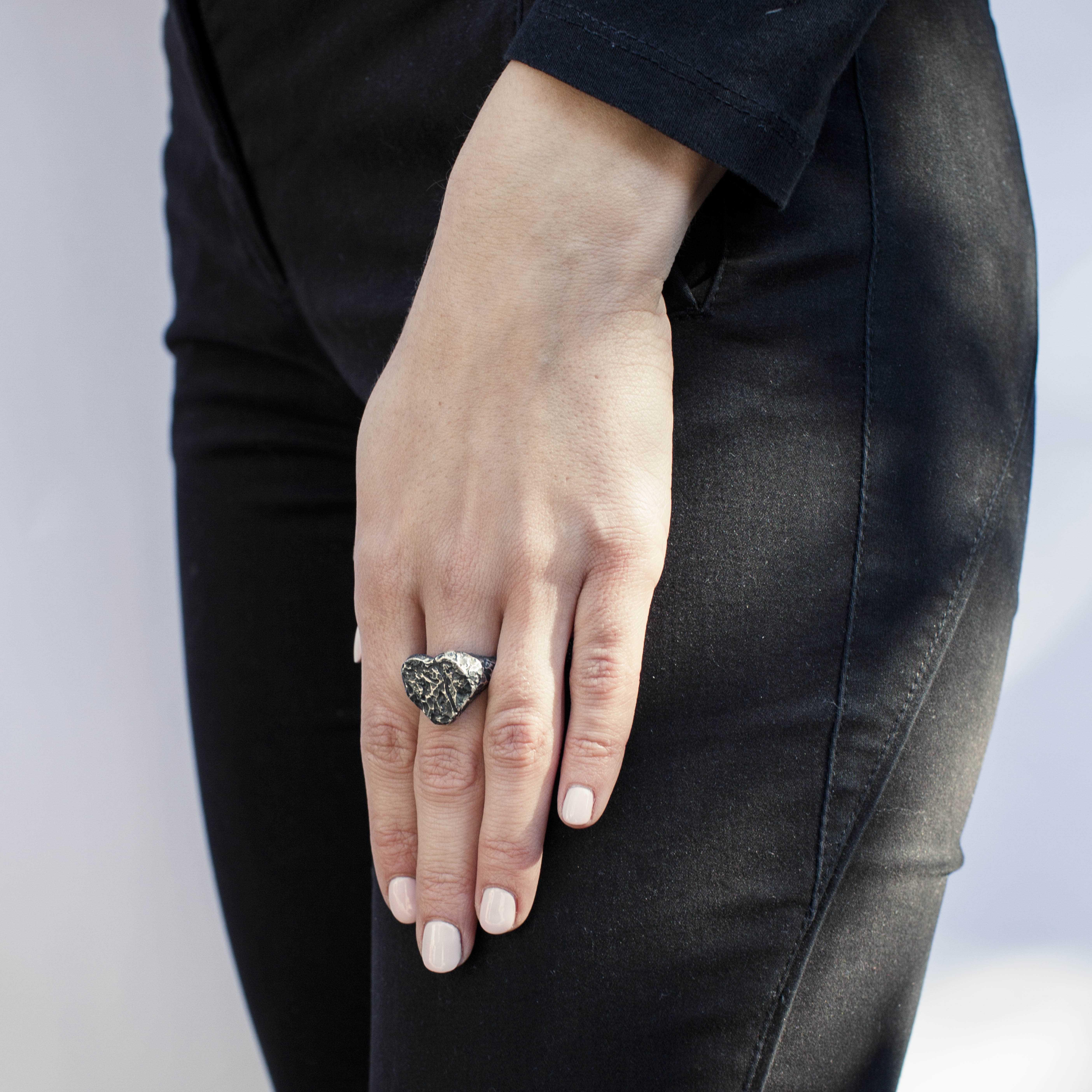 anello cuore in argento rawsen